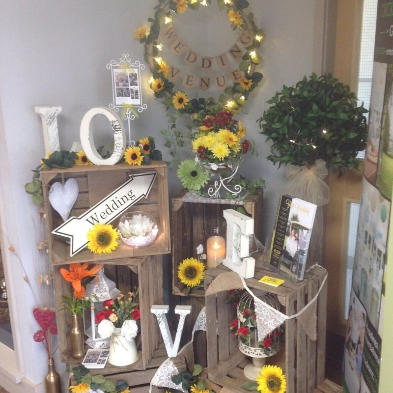 Candy Bees Apple crates, wooden letters, vases and urns all available to hire