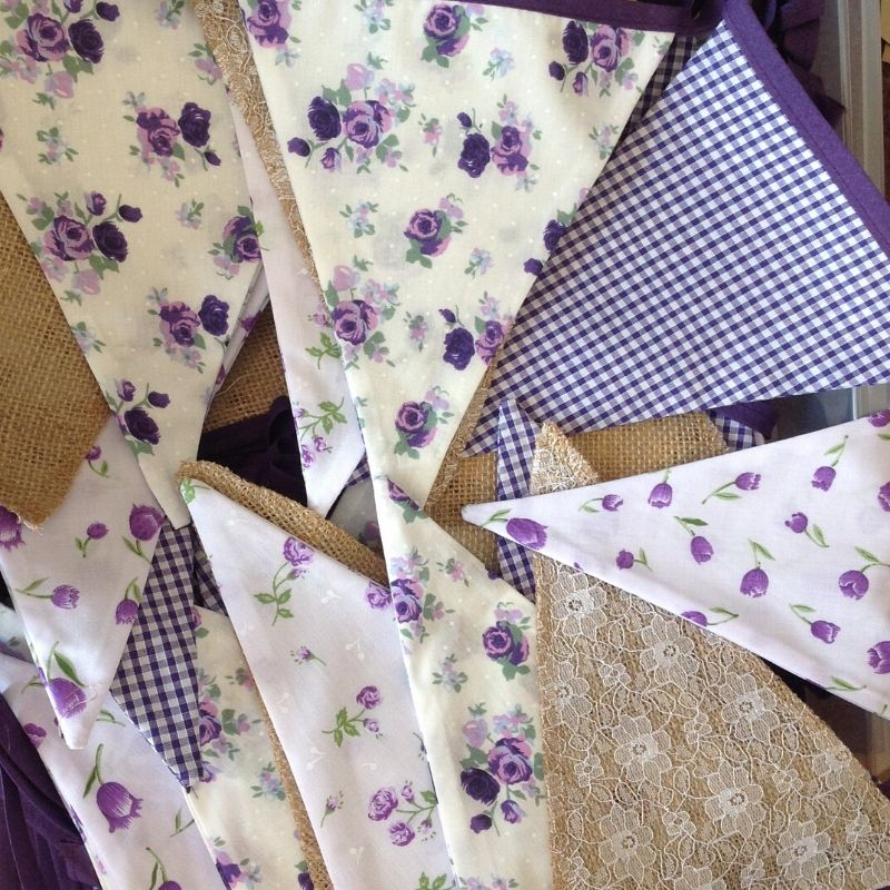 Candy Bees Handmade bunting in purple with floral, check and lace patters