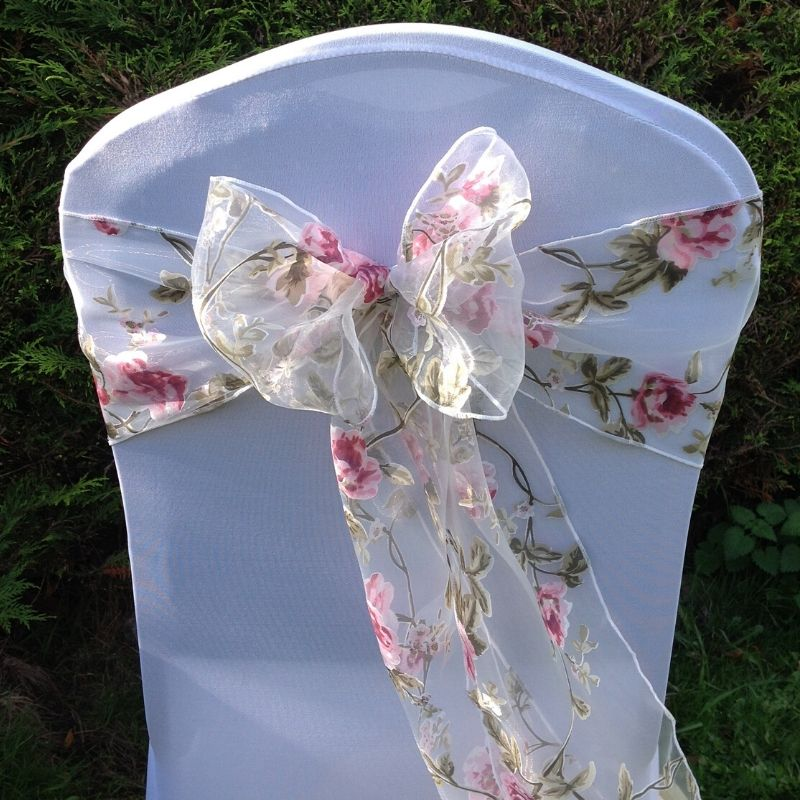 Candy Bees Pink rose chair sashes