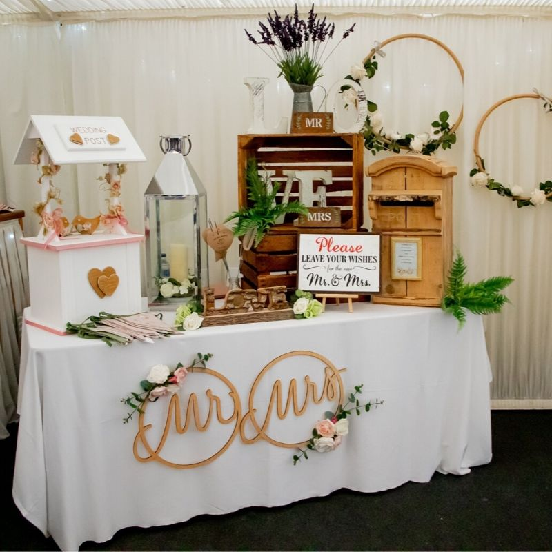 Candy Bees Wedding postbox display with Mr & Mrs hanging hoops & wooden signs