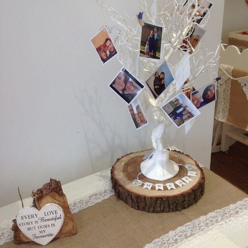 CAndy Bees Photo tree and chic sign to hire for wedding