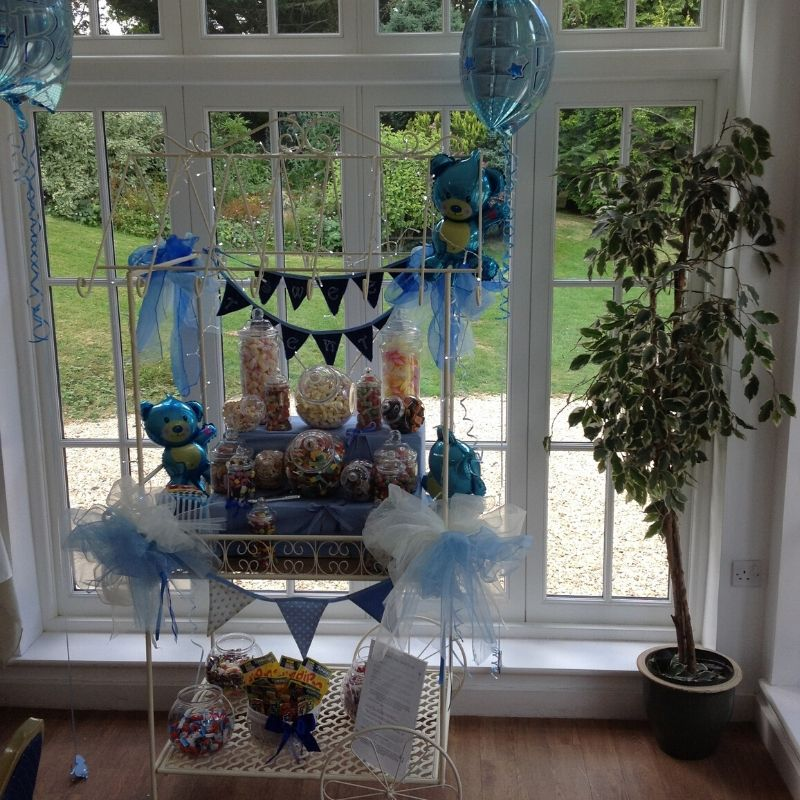 Candy Bees Sweet Cart hire for Baby Shower or birthday - all blue with bunting