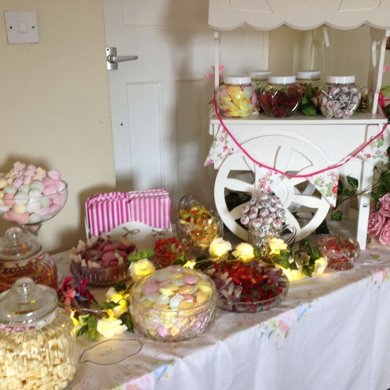 Candy Bees Tabletop sweet cart hire with selection of confectionery