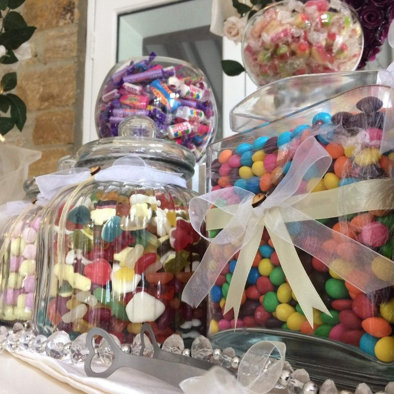 Candy Bees Glass jars full of sweets selection