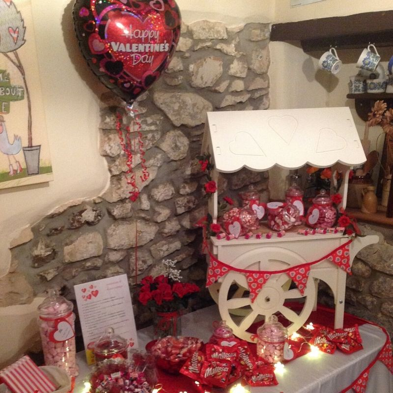 Candy Bees Valentines Sweet cart, red bunting and red sweets