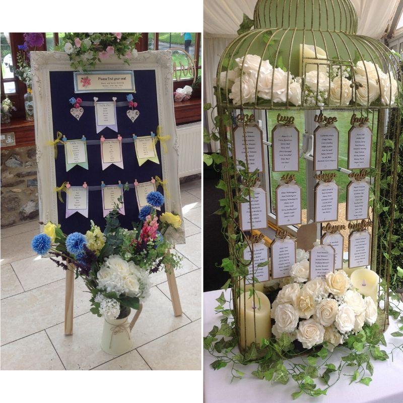 Candy Bees Table plan ideas - birdcage with flower or photoframe